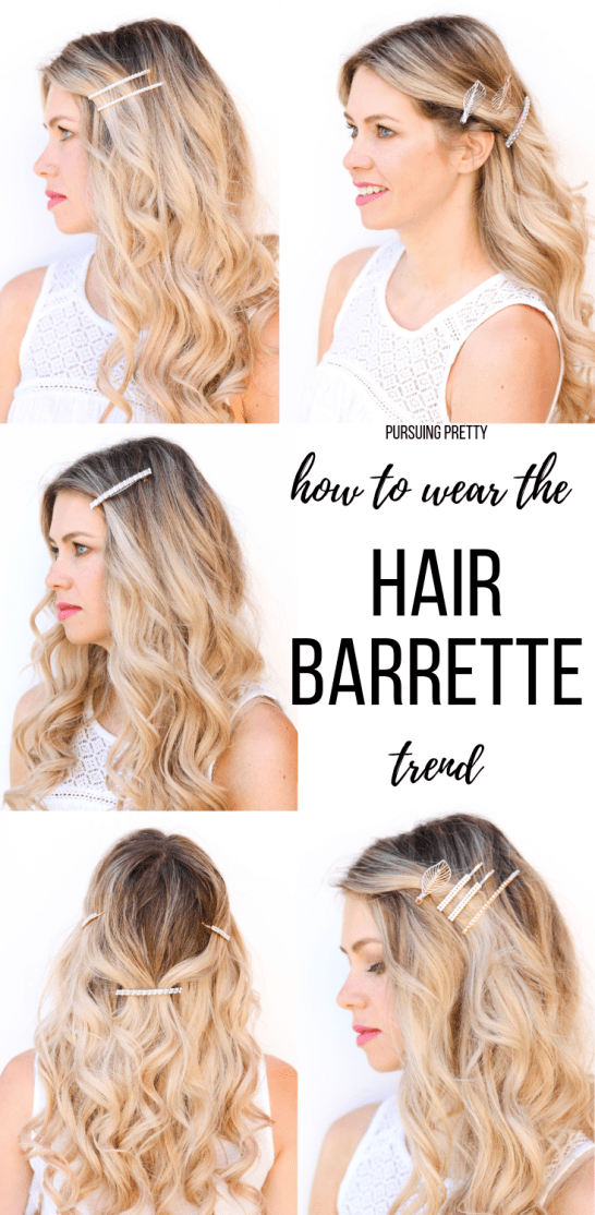How to Wear the HAIR BARRETTE Trend! 5 pretty hairstyles using hair clips and barrettes! #hairstyles #hair #trends