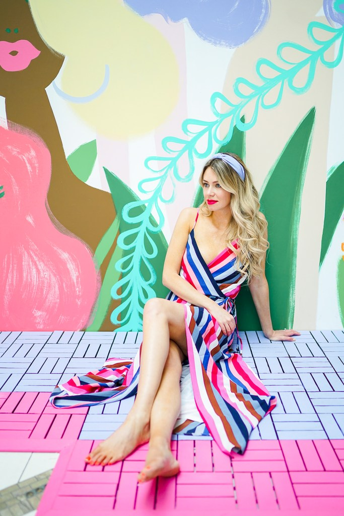 Pretty, easy fashion for spring - maxi dresses and headbands - Pink Blush striped maxi dress
