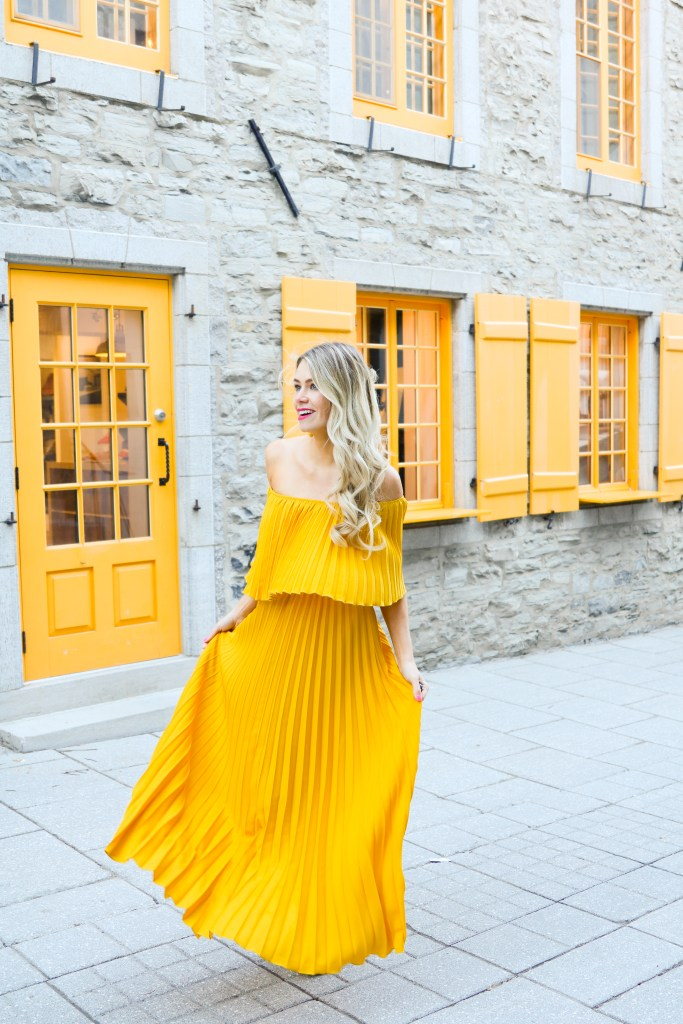 Pleated Yellow Dress from ChicWish - fashion and travel blogger- PursuingPretty.com
