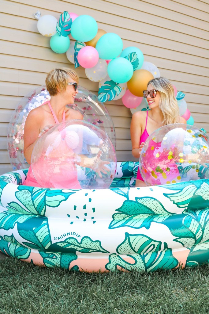 Summer Party ideas! Minnidip decorations with inflatable pool and floaties.