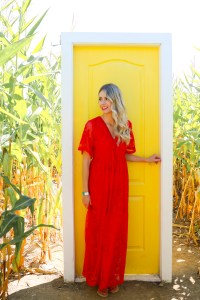 Red lace dress from Pink Blush Maternity - Sunflower Trail in British Columbia, Canada