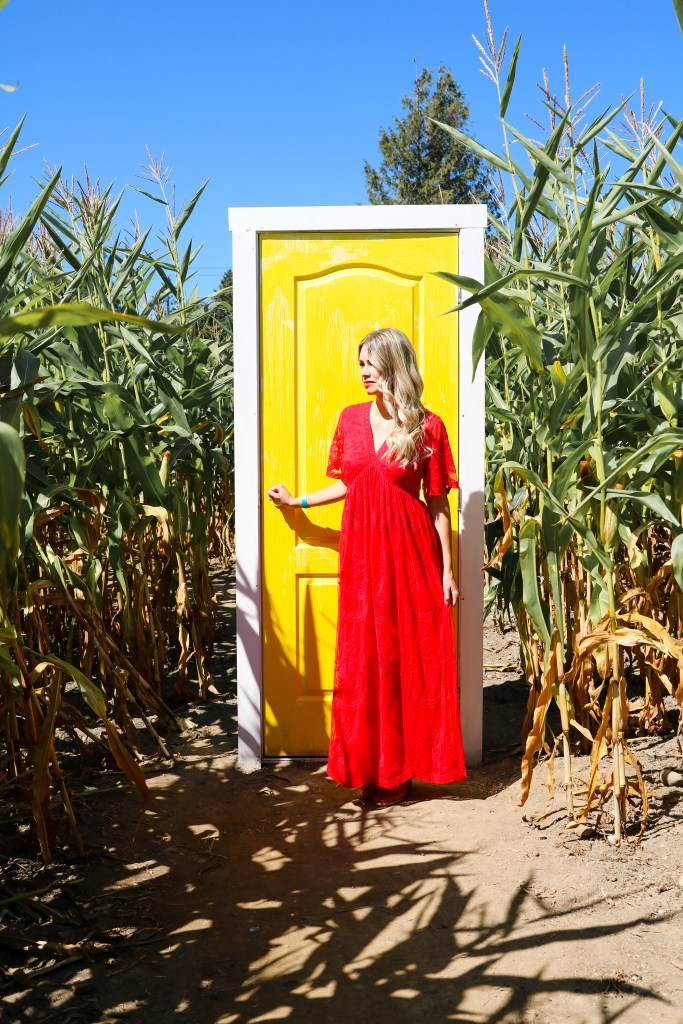 Fall outfit ideas - red dress , cornfield - fashion and style ideas for fall