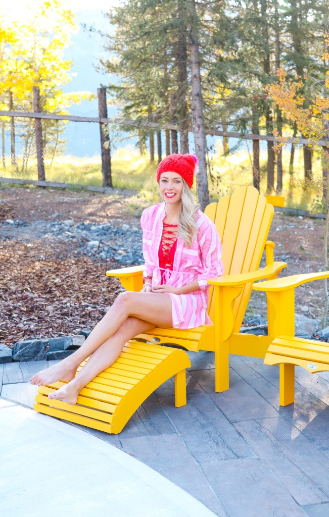 Fall bathing suits in colour - Red one-piece and red and pink toque - Rocky Mountain fashion