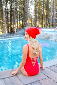Fall bathing suits in colour - Red one-piece and red and pink toque - Rocky Mountain fashion in the Rocky Mountains- Bikini Village -