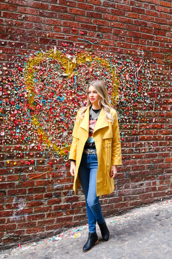 Gum Wall location in Seattle - Pike Place Market - Instagram Photos - fall fashion inspiration -Instagram Seattle