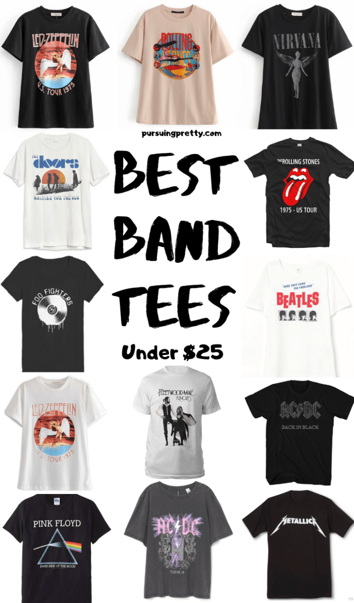 Best BAND TEES under $25 - band t-shirts never go out of style - Led Zeppelin, Fleetwood Mac, ACDC, Metallica, Doors, Rolling Stones shirts - classic fashion and style