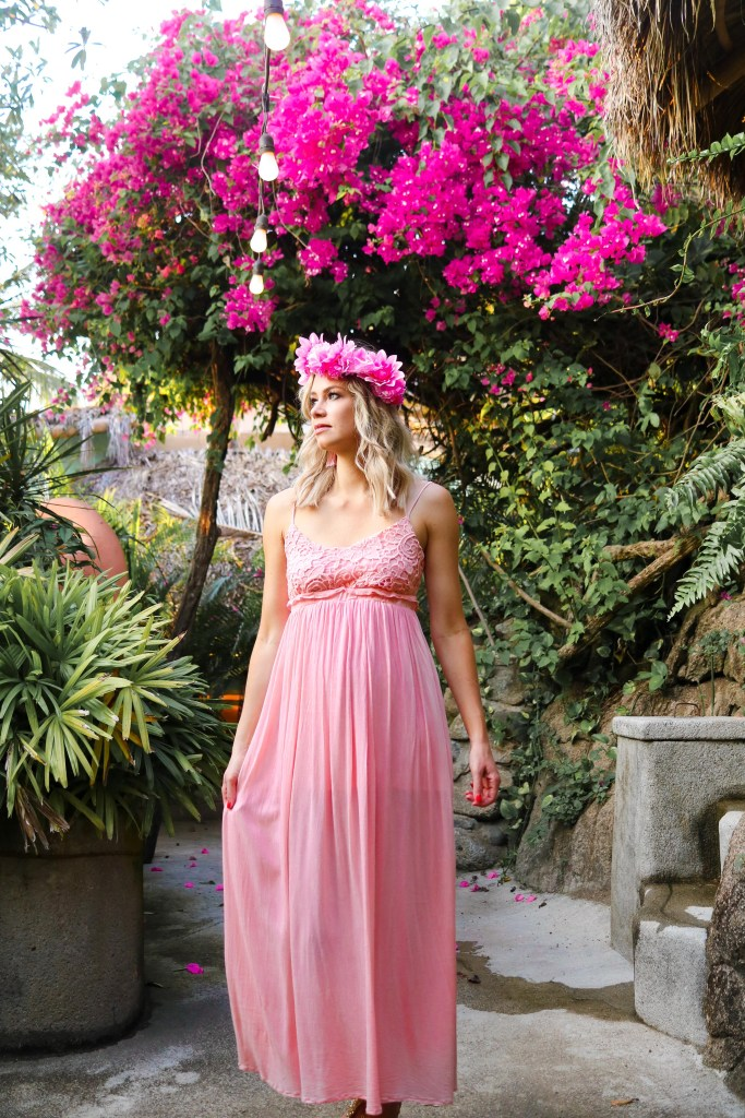 Vacation outfit - lace blush pink chiffon dress from Pink Blush - Canadian travel and fashion blogger: Pursuing Pretty #style #travel #fashion #vacation #mexico