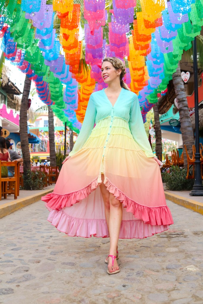 Mexican Flags in Sayulita - Travel Mexico for Colour and Culture - Papel Picado in Sayulita - ombre dress from Chicwish