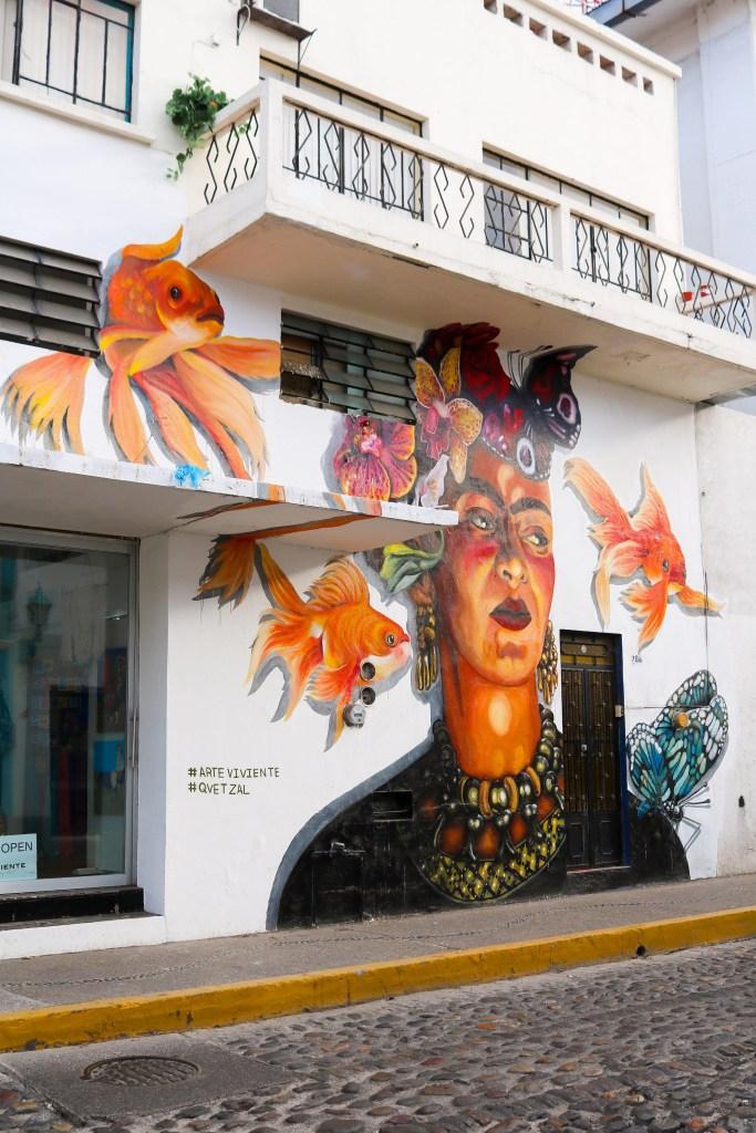 Frida Wall Art in Puerto Vallarta - street art tour