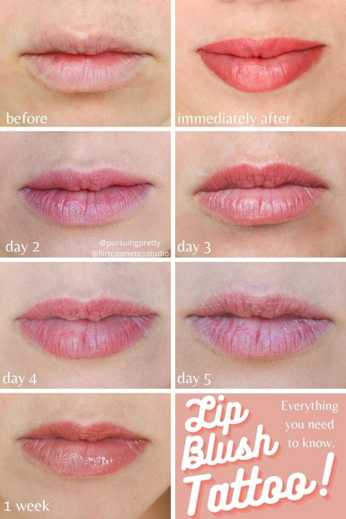 Lip Blush Tattoo healing process photos - before and after cosmetic beauty tattoo