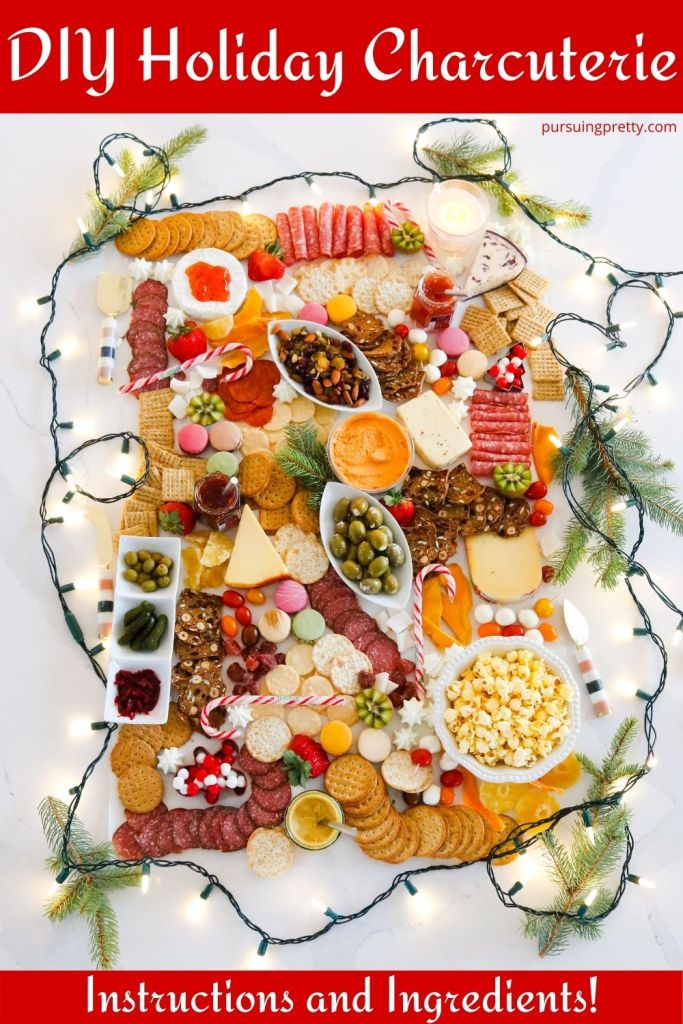 The most beautiful and festive HOLIDAY CHARCUTERIE BOARD! Get inspired to entertain to DIY with this Christmas charcuterie layout. Charcuterie recipes, charcuterie ideas, christmas charcuterie, christmas appetizers
