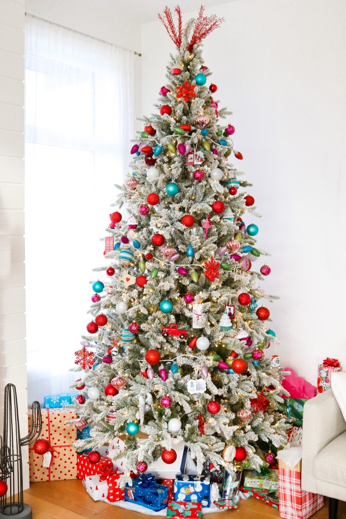 Red, pink, and teal Christmas Tree decorations from Michaels and Walmart. Colourful Christmas decor!