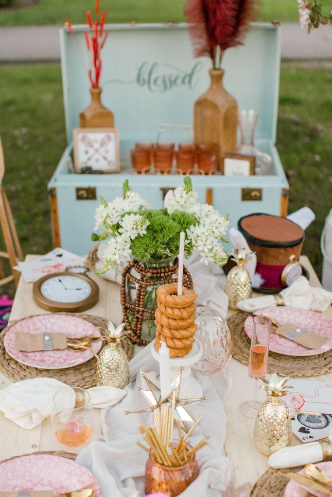 Alice in Wonderland Picnic Theme - Boho luxury picnic ideas from Calgary, Alberta. Spring photoshoot ideas.