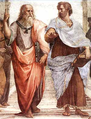 Aristotle (right) and Plato in Raphael's painting, 'The School of Athens', in the Vatican.