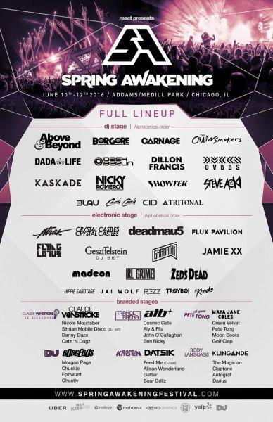 Spring Awakening 2016 Lineup