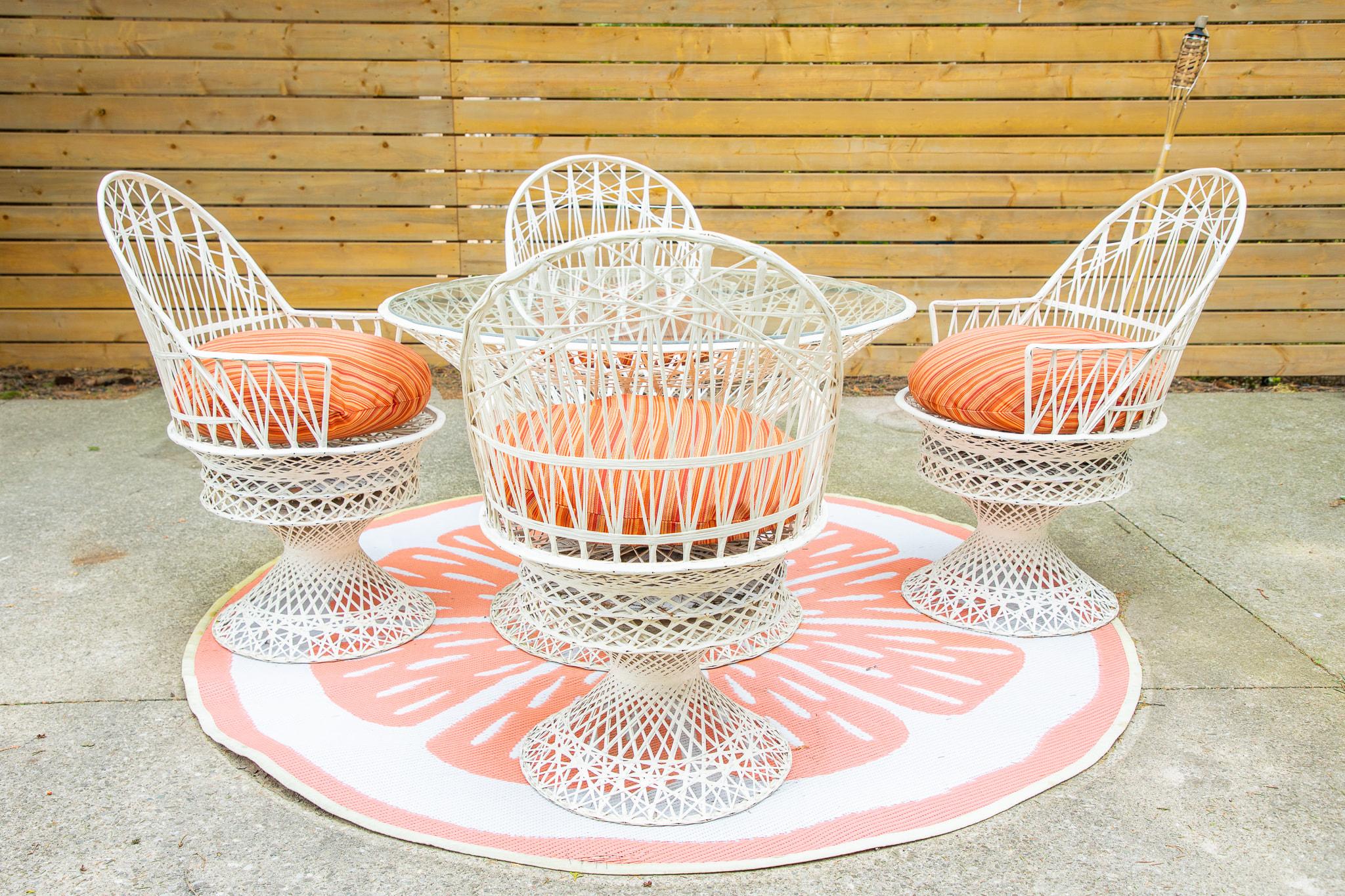 russell woodard spun fiberglass patio set