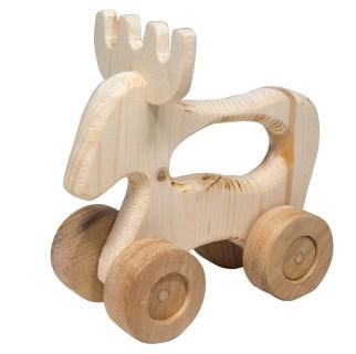 Giocattoli di legno - Alce con ruote