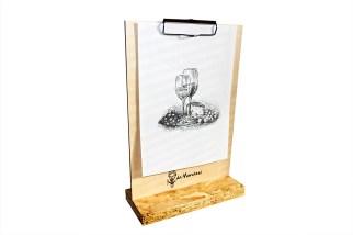 Portamenu clipboard block-notes con clip molla in legnoPortamenu clipboard block-notes con clip molla in legno