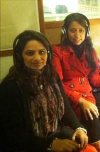 Nirmala Dhital (L) & Rakshya Risal in the KPFA Studios.   Photo courtesy Ken Stein