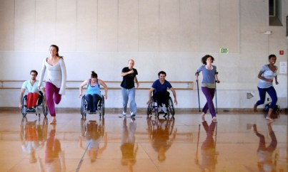 FItness- People moving across gym floor, wheelchairs, canes