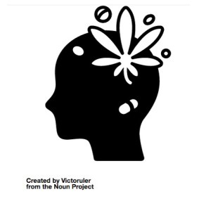 A black silhouette in profile.  In the head area, we see a flower, a pill and several bubbles.  Created by Victoruler from the Noun Project
