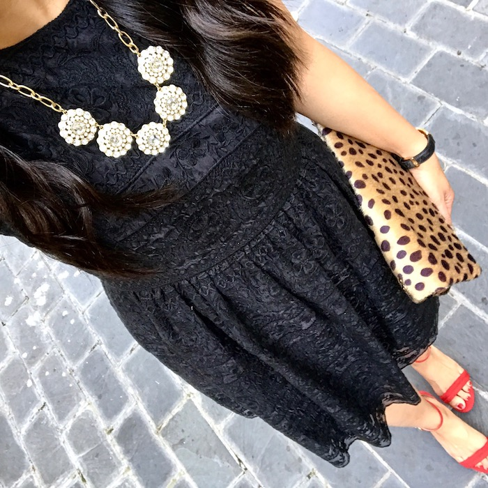 black lace dress + red heels + leopard clutch