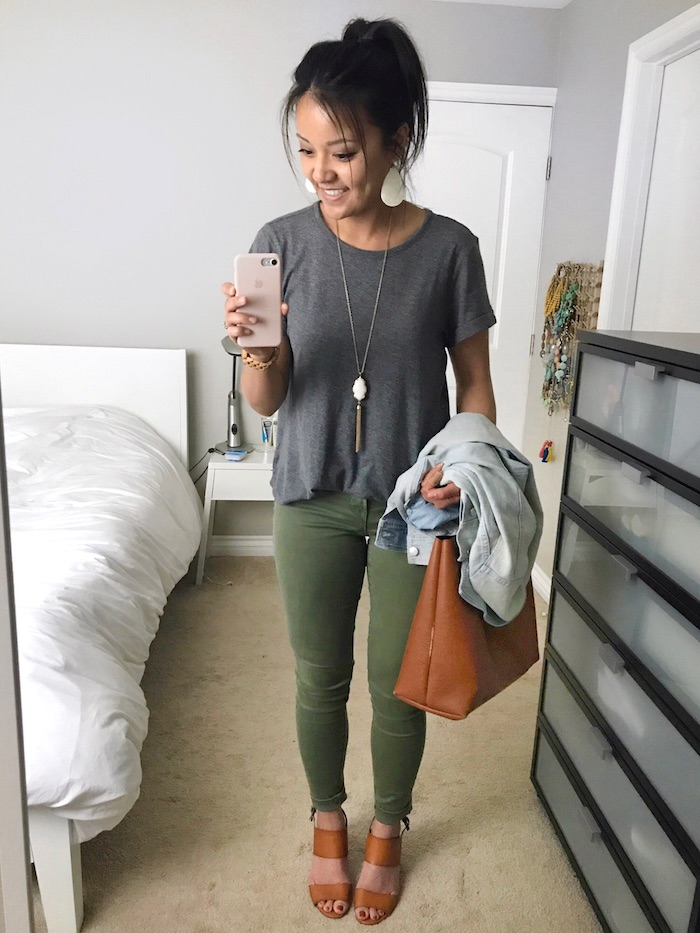 grey tee + olive jeans + cognac accents