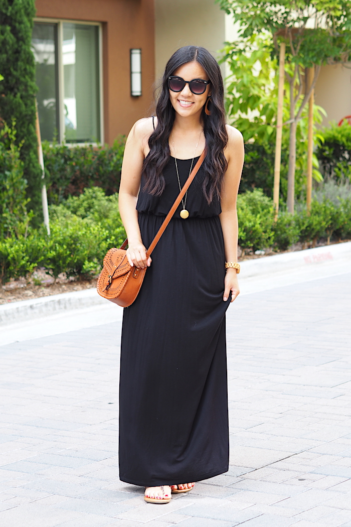 black maxi dress + tan accessories + leopard print sandals