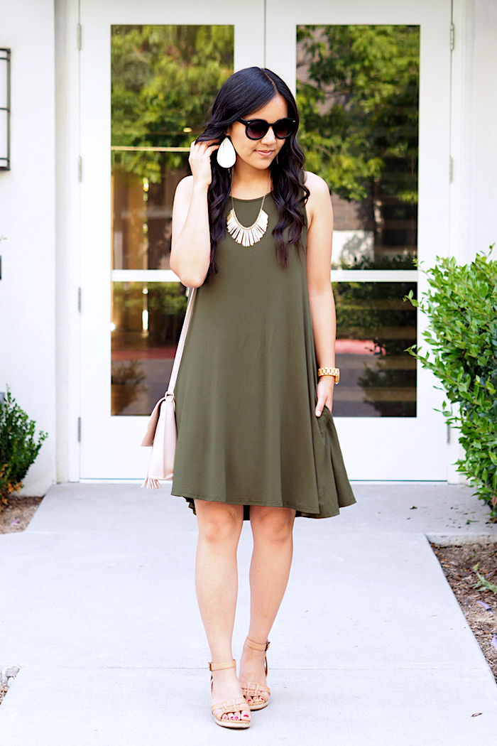 olive swing dress + gold necklace + blush