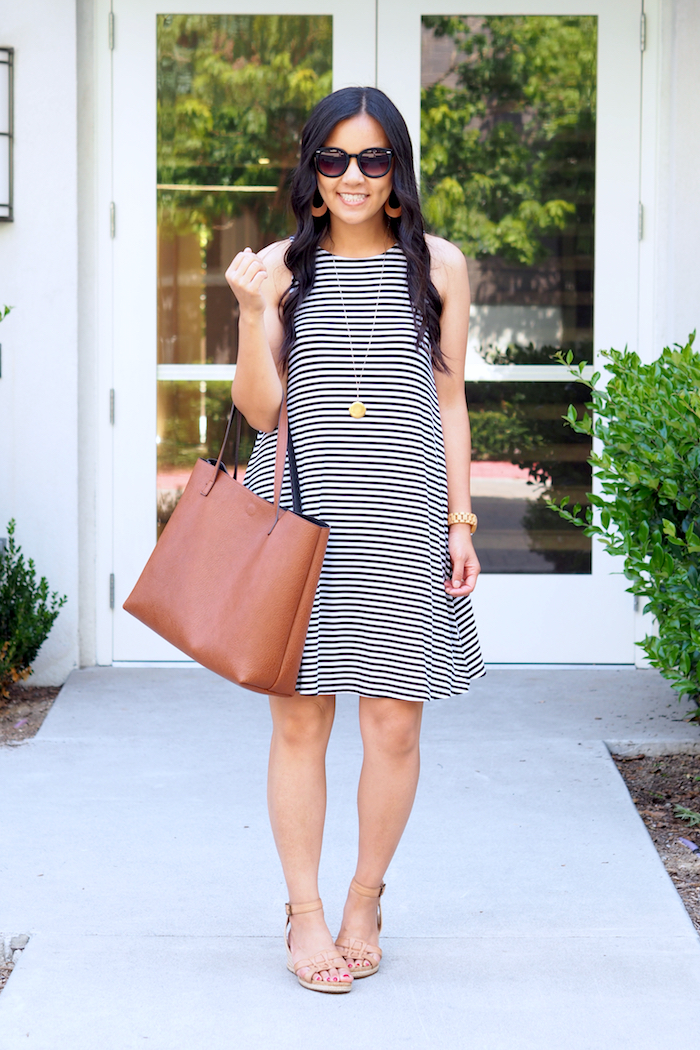 striped dress + cognac accessories