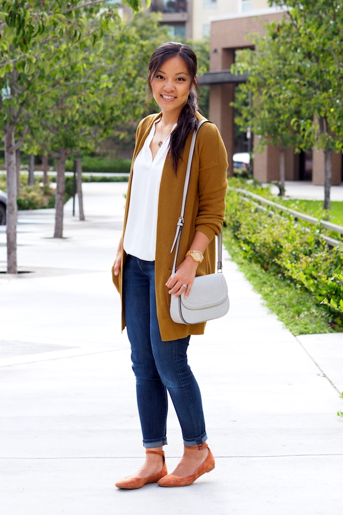 white top + brown cardigan + red flats + dark wash denim