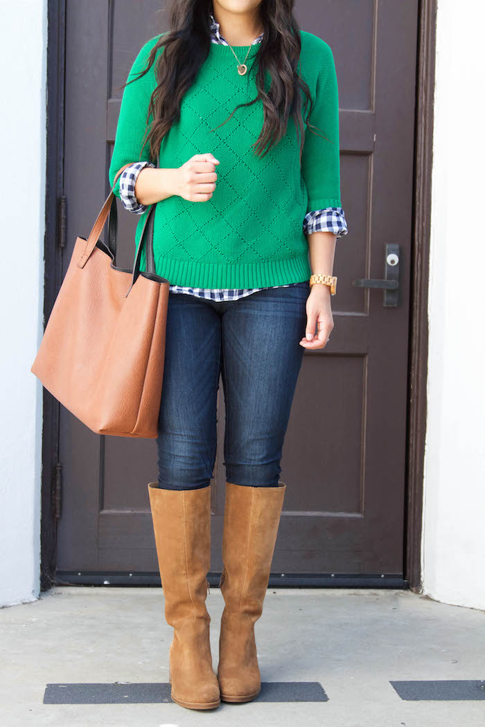 Gingham Button up + Green sweater + Skinnies + Riding Boots