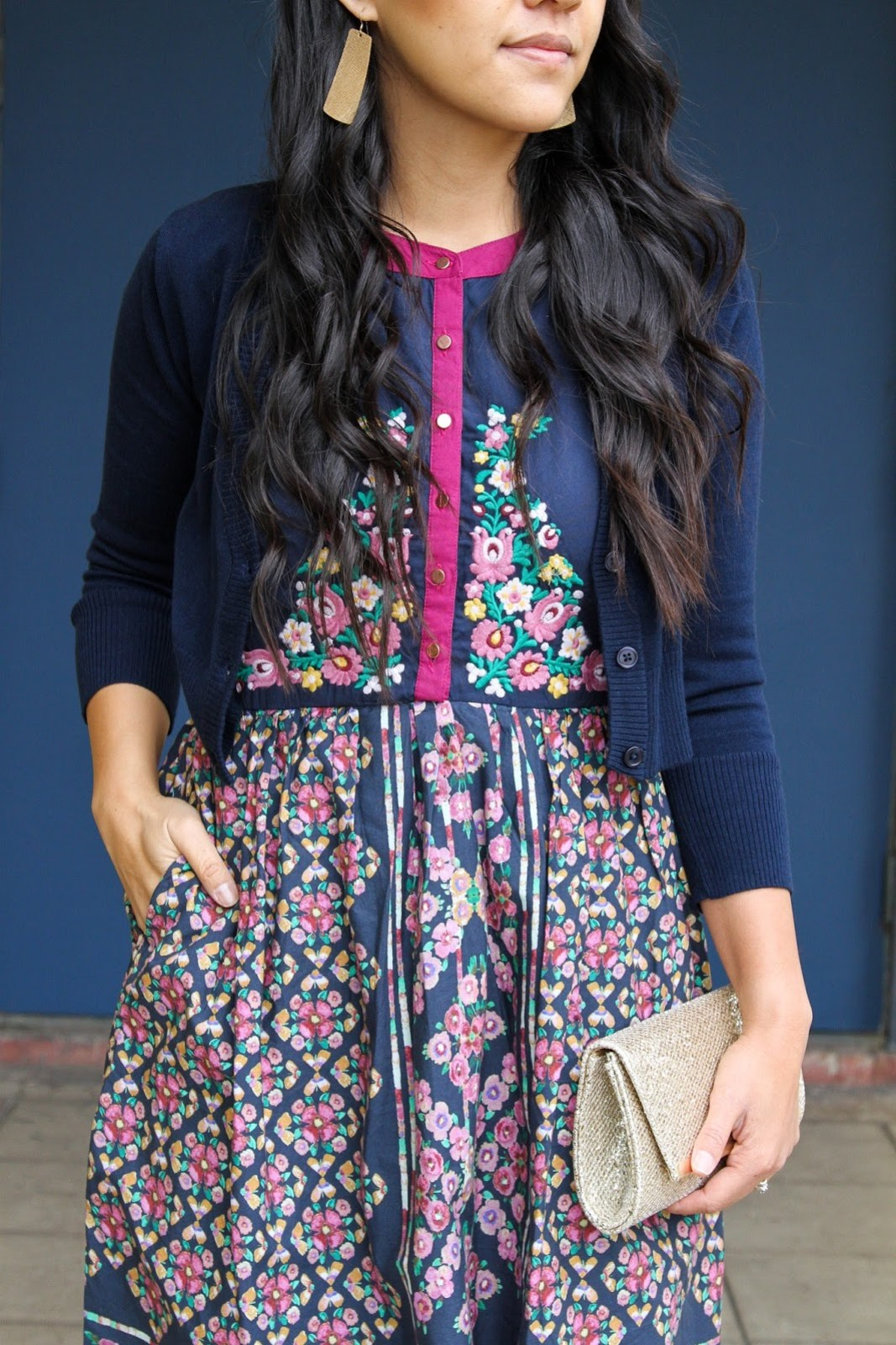 Navy Cardigan + Gold Earrings + Navy and Floral Dress