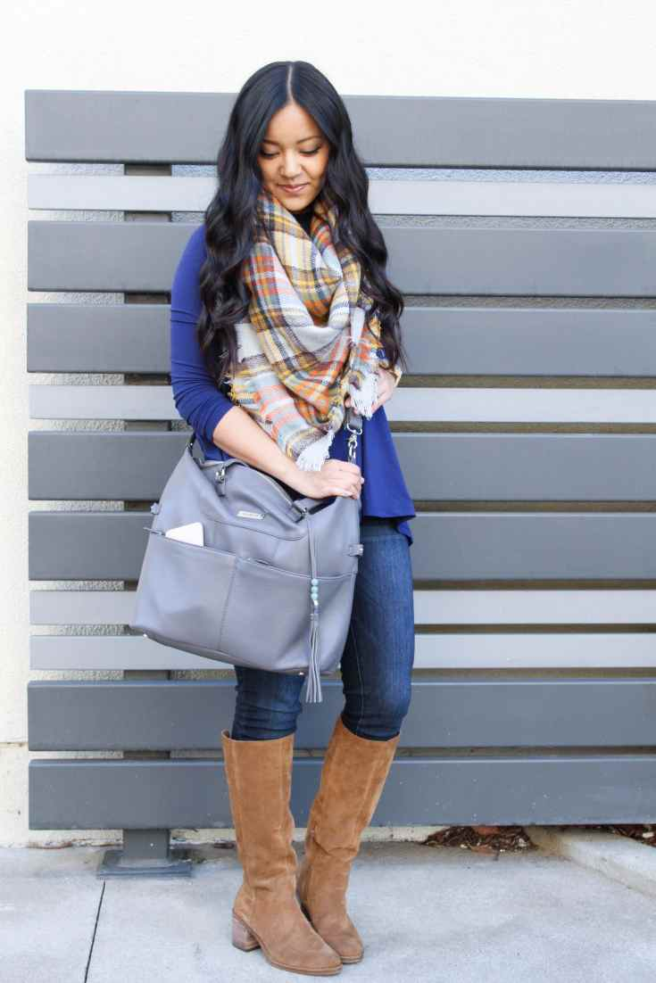Travel Outfit: Blue Butter Tee + Lily Jade Bag + Blanket Scarf + Riding Boots + Skinnies