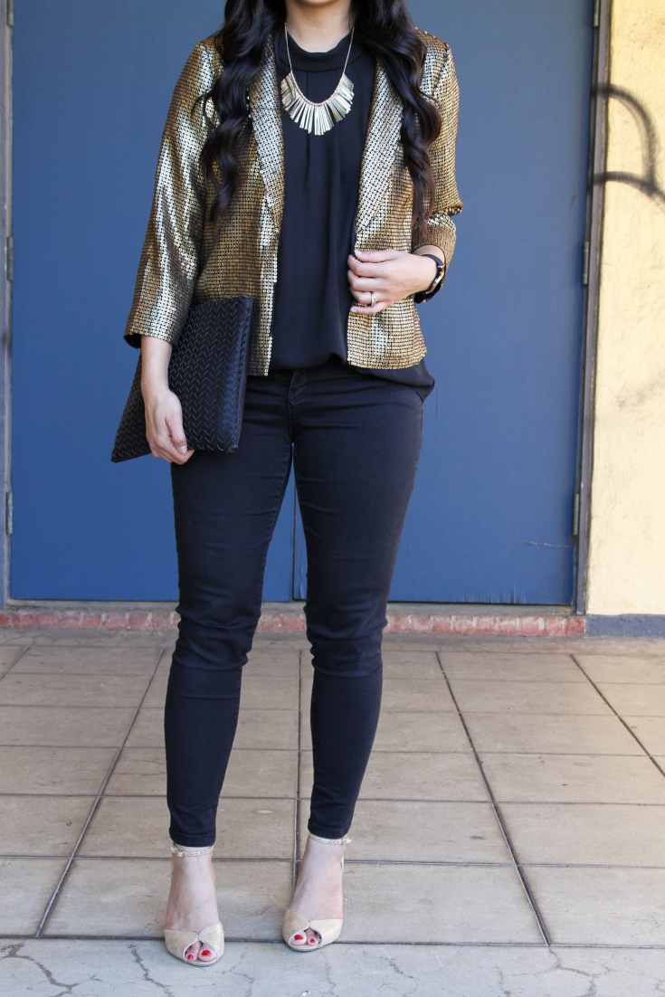 NYE Outfit: Gold Jacket + Gold Statement Jewelry + Gold Shoes + Black Skinnies + Black Blouse