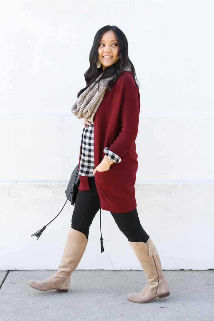 Tan Scarf +Maroon Cardigan + Boots + Black Jeans + Gingham Top