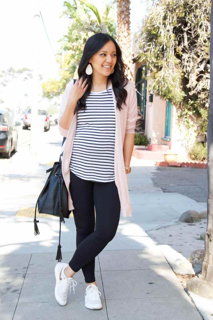 Striped Tee + Leggings + Bucket Bag + White Sneakers + Blush Cardigan