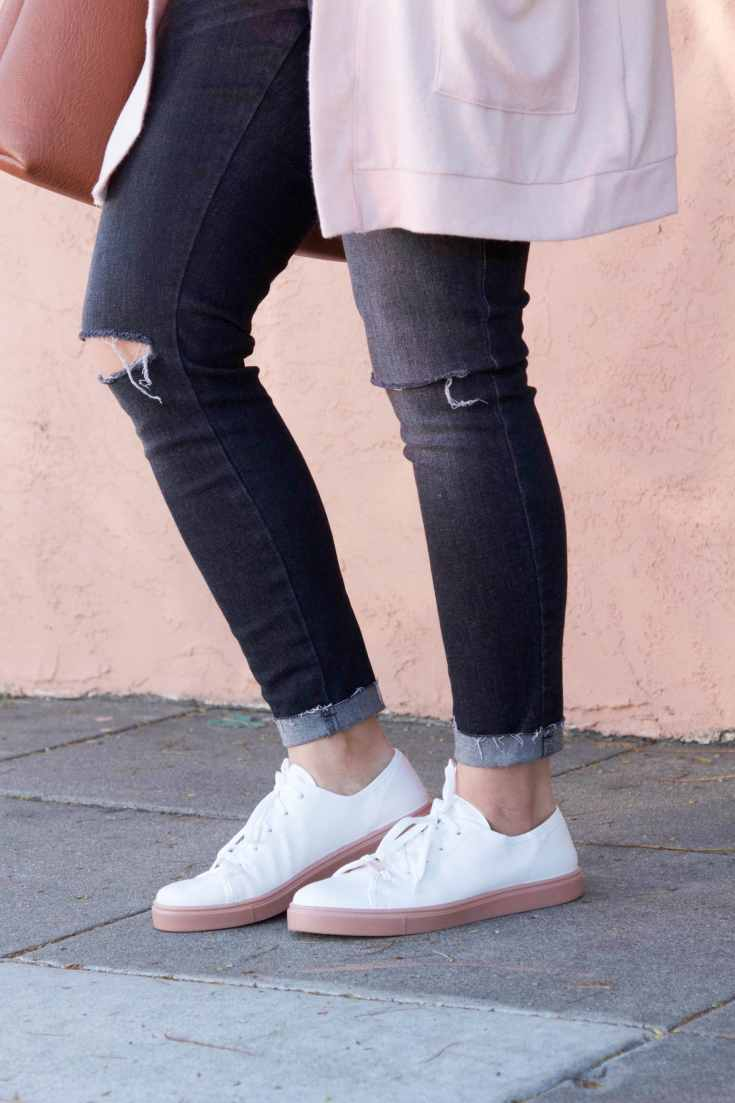 White and Blush Sneakers + Distressed Jeans