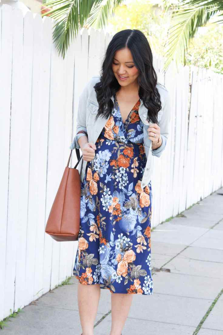 Jean Jacket + Navy Midi Dress + Cognac Tote