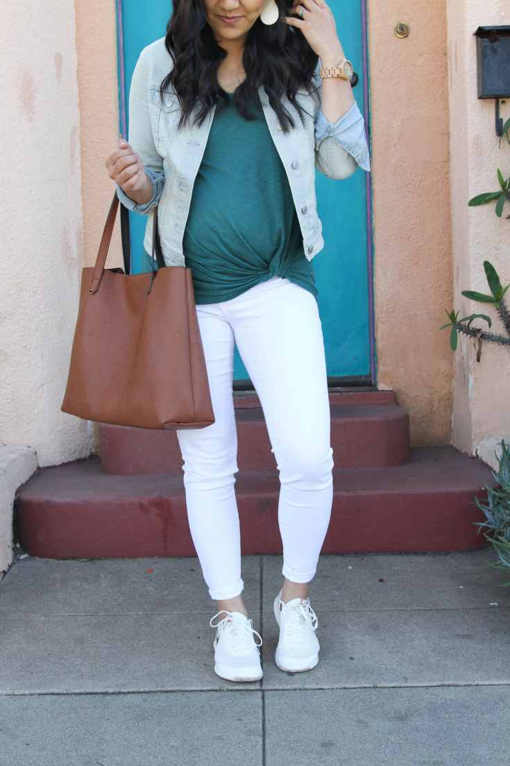 Green Twist Tee + Tote + White Jeans + White Sneakers + Denim Jacket
