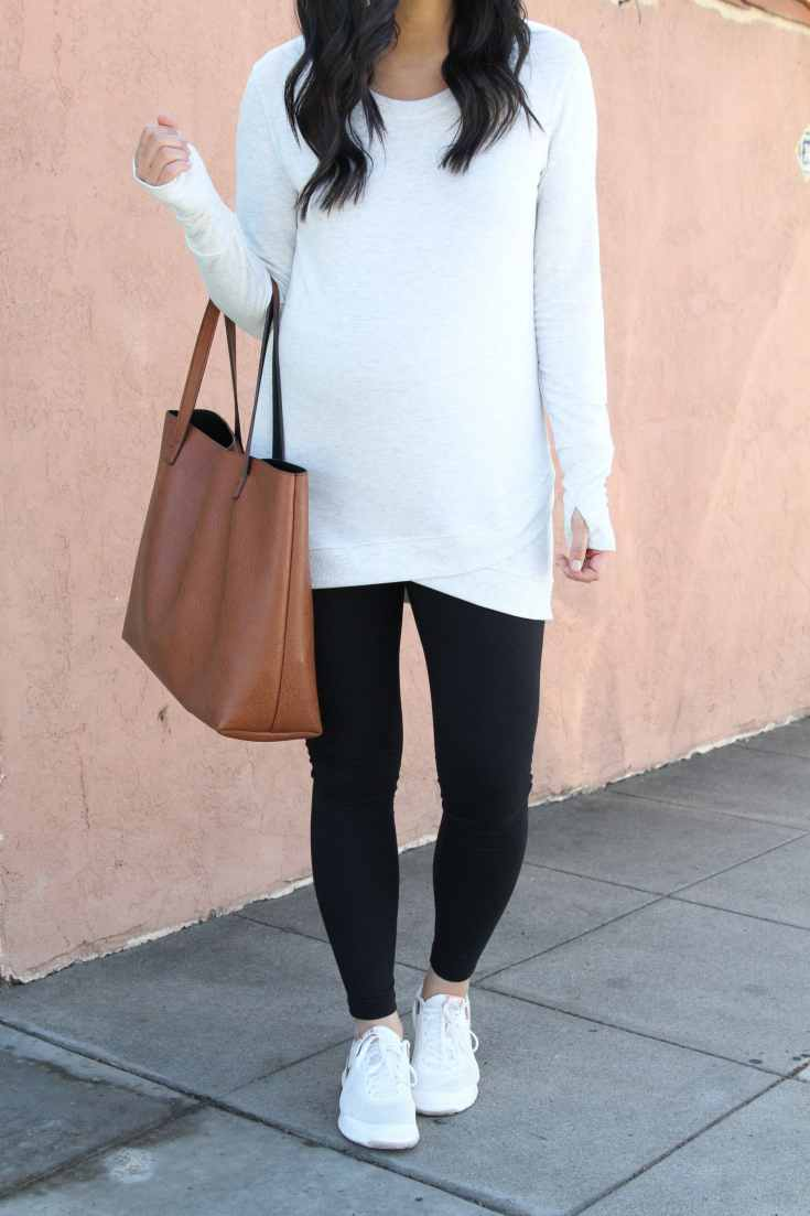 Black Leggings + Cross Hem Sweatshirt + Cognac Tote + Nike Sneakers
