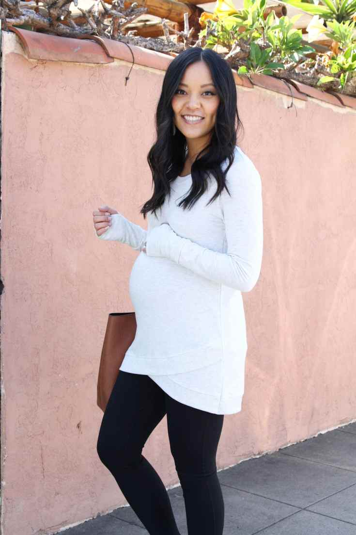 Maternity Athleisure: Cross Hem Sweatshirt + Black Leggings + Tote