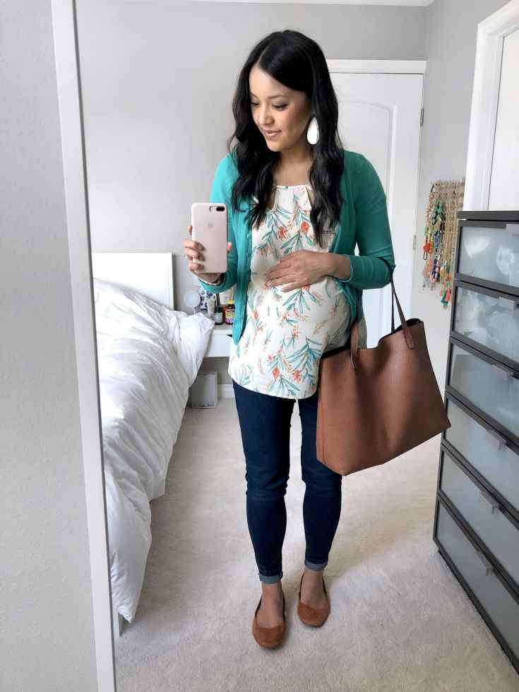 Turquoise Cardigan + Floral Blouse + Skinnies + Rust Flats + Tote