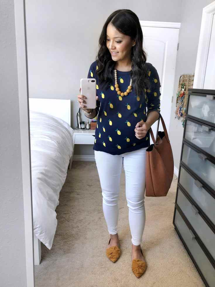 White Jeans + Lemon Sweater + Statement Necklace + Mustard Shoes + Tote