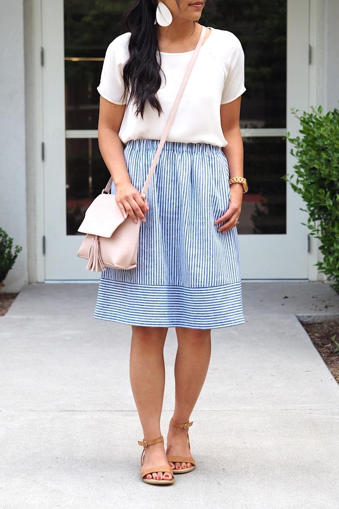 Striped Skirt + White Tee + Blush Bag + Statement Earrings