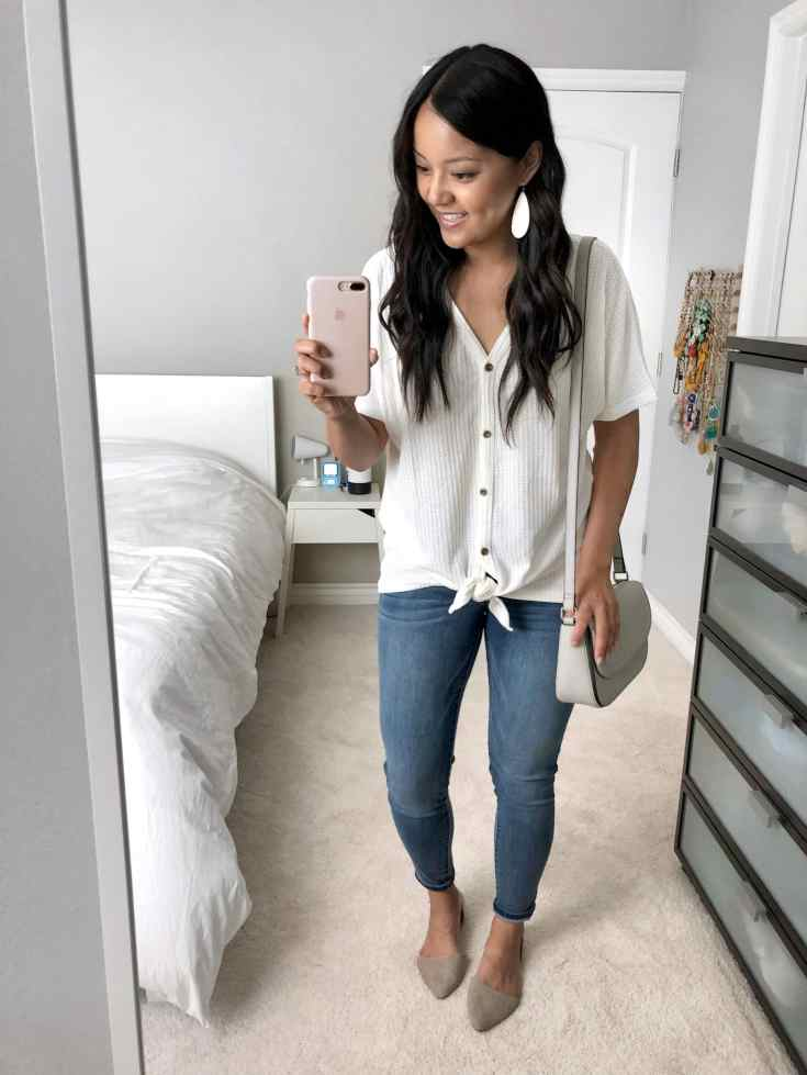 Waffle Button Up Top - Nursing Friendly Clothes