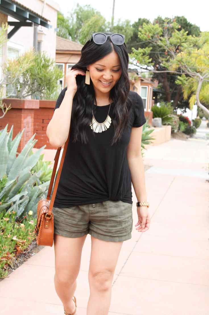 Linen Shorts + Black Twist Tee + Bib Necklace + Cognac Bag