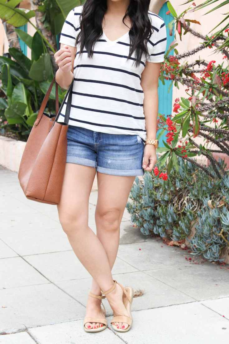 Striped Tee + Jean Shorts + Cognac Tote + Sandals