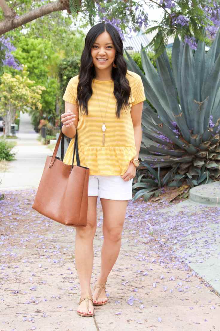 Yellow Peplum Top + White Necklace + White Shorts + Cognac Tote + Sandals