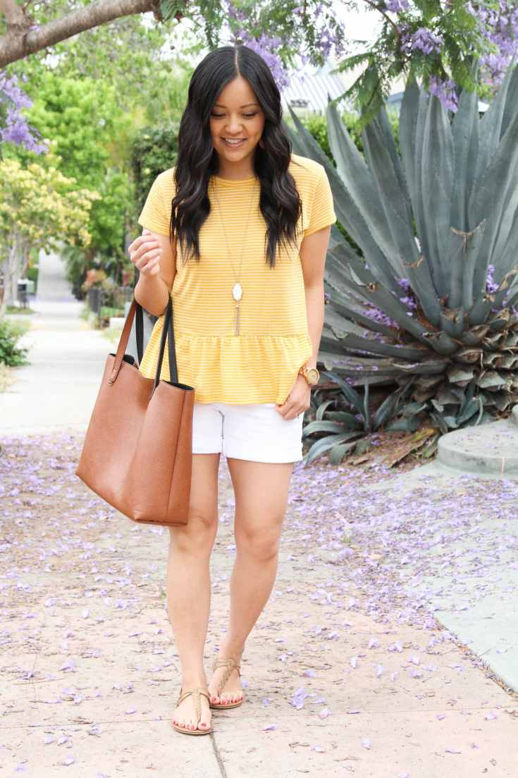 Yellow Peplum + White Shorts + Tan Sandals + Cognac Tote + White Pendant